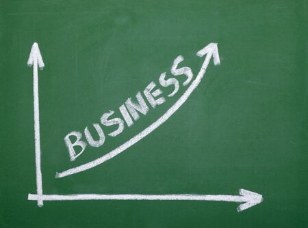 lecturer: close up of chalkboard with finance business graph