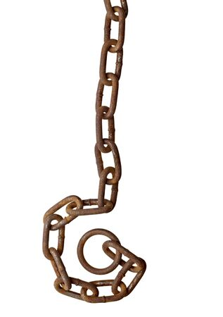 close up of metal chain part on white background photo