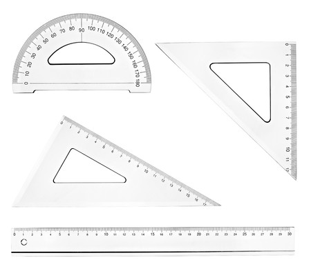 collection of plastic transparent rulers on white background. each one is in full cameras resolution photo