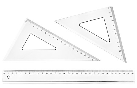inch: collection of plastic transparent rulers on white background. each one is in full cameras resolution