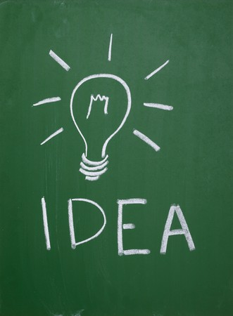 close up of a light bulb drawing on blackboard Stock Photo - 7625960