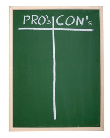 cons: close up of chalkboard with pros and cons columns