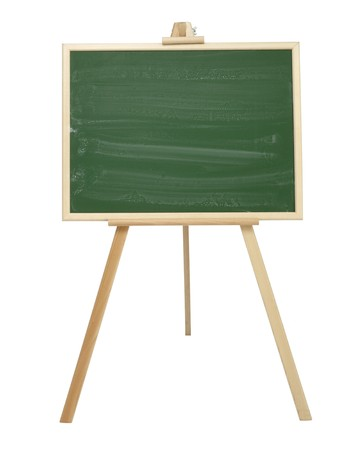 demonstrations: close up of an empty  chalk board on tripod Stock Photo