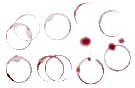 multiple stains: close up of wine glass marks on white background  Stock Photo