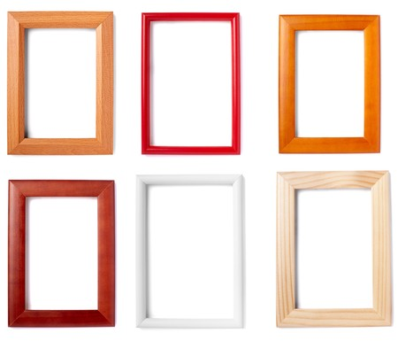 collection of wooden frames on white background. each one is in full camera resolution photo