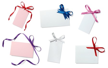 annotation: collection of  card note with  ribbon on white background. each one is in full camera resolution