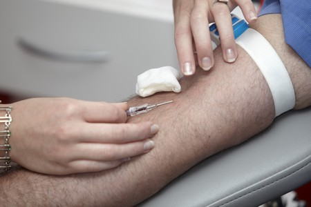 close up of blood extraction in lab Stock Photo - 7625848