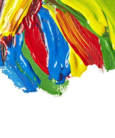 wet paint: close up of  color strokes on white background  with clipping path Stock Photo