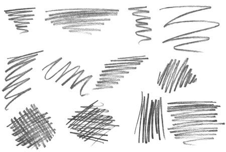 kratzspuren: Auflistung von verschiedenen Bleistift-Strichen auf wei�em Hintergrund