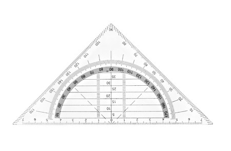 metric: close up of plastic transparent ruler on white background