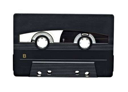 close up of old audio tape on white background photo