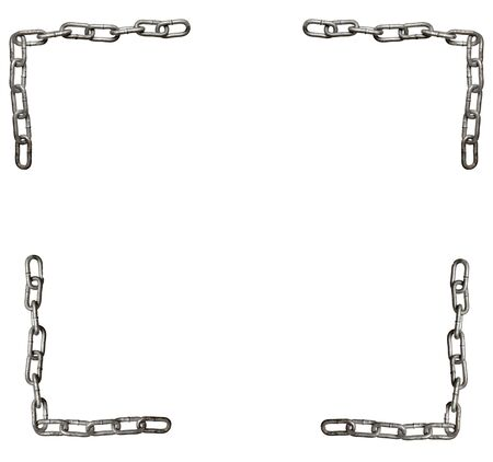collection of metal chain parts on white background. each one is in full cameras resolution photo