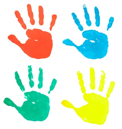 imprints: collection of colored hand prints on white background