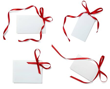 collection of  card note with  ribbon on white background. each one is in full camera resolution photo