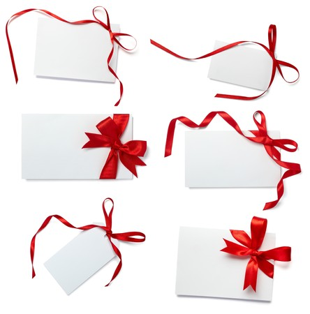 gift wrapping: collection of  card note with  ribbon on white background. each one is in full camera resolution