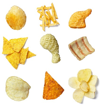whote: collection of potato chips on whote background. each one is in full camera resolution