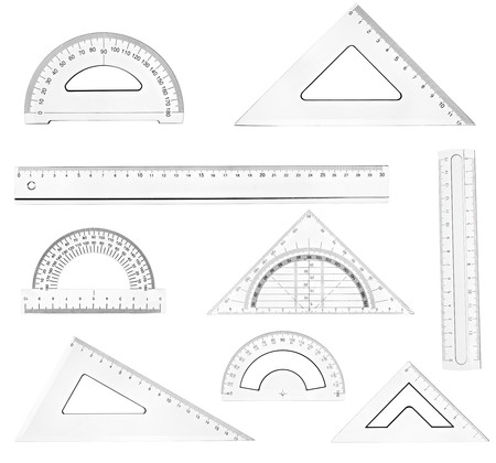 millimeter: collection of plastic transparent rulers on white background. each one is in full cameras resolution