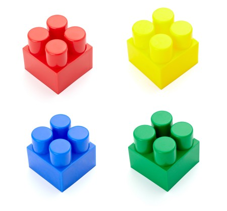 baclground: collection of child toy bricks construction on white baclground. each one is in full cameras resolution Stock Photo
