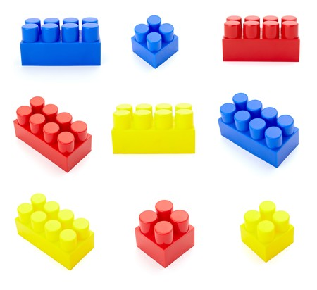 collection of child toy bricks construction on white baclground. each one is in full cameras resolution photo