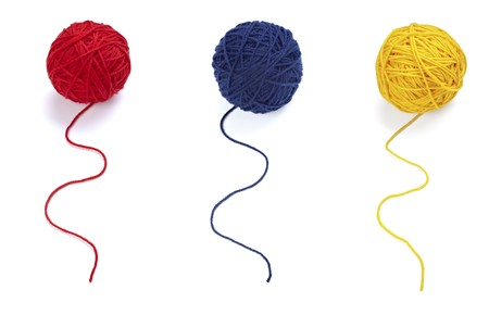 yarns: collection of wool knitting on white background. each one is in full camera resolution