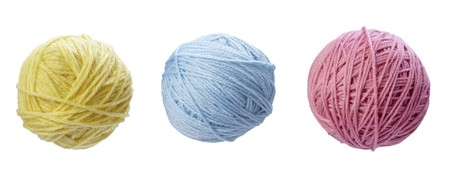 collection of wool knitting on white background. each one is in full camera resolution photo