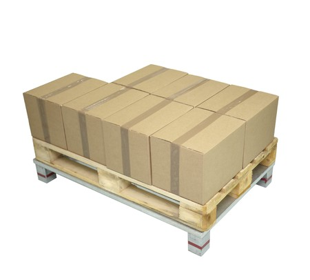 close up of cardboard boxes on white background Stock Photo - 7969019