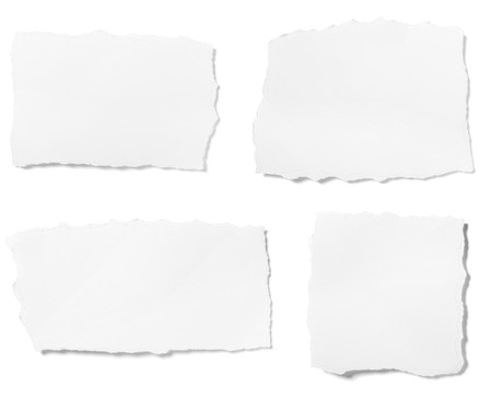 edges: collection of  white ripped pieces of paper on white background. each one is shot separately Stock Photo