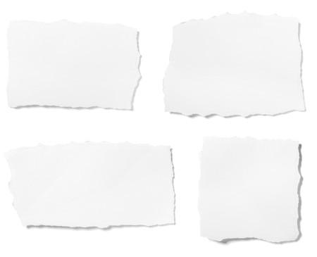 bordi: raccolta di pezzi strappati bianchi di carta su sfondo bianco. ognuno � girato separatamente