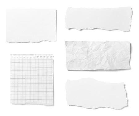 gescheurd papier: collectie van verschillende geript stukjes papier op witte achtergrond. elk wordt afzonderlijk neergeschoten