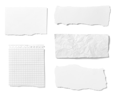 paper fold: collection of  various ripped pieces of paper on white background. each one is shot separately