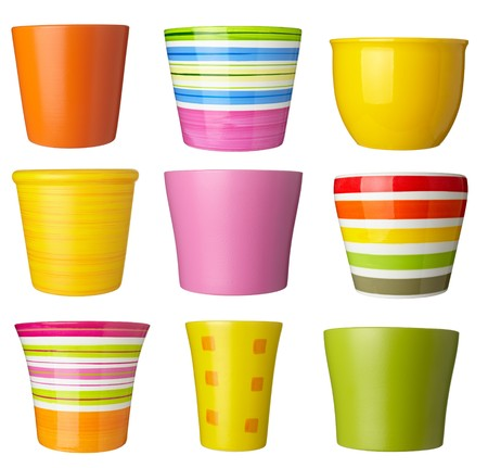 flower pot: collection of   flowerpots  on white background. each one is shot separately