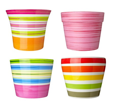 vase color: collection of   flowerpots  on white background. each one is shot separately