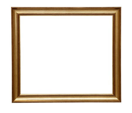 antique gold frame: wooden frame for painting or picture on white background