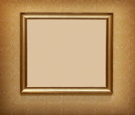 wooden frame for painting or picture ona  decorative wall photo