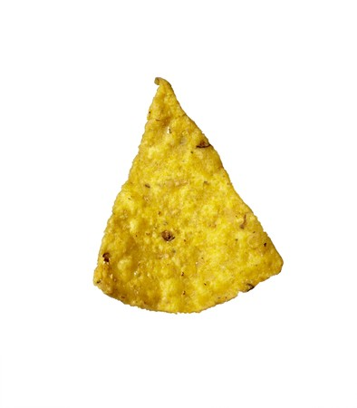 whote: close up of potato chips on whote background  Stock Photo