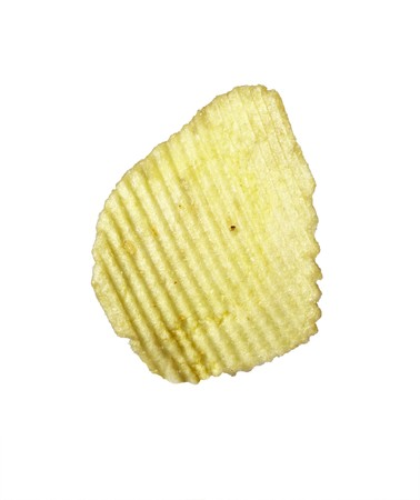 whote: close up of potato chips on whote background