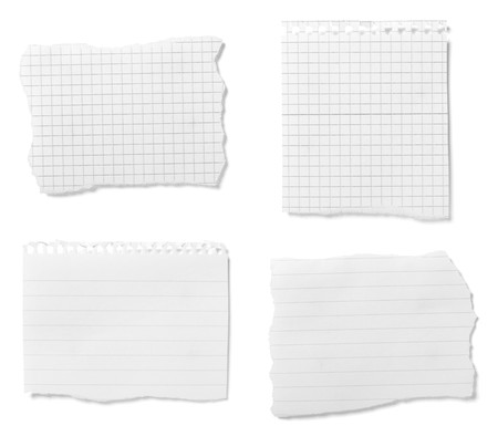 torned: collection of  white ripped pieces of paper on white background. each one is shot separately Stock Photo