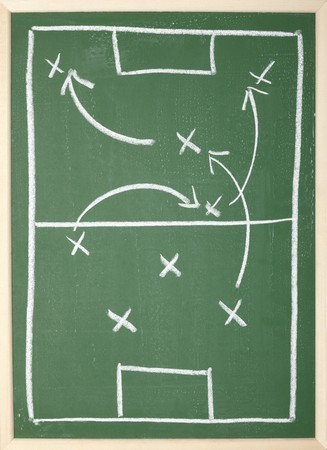 close up of a soccer tactics drawing on chalkboard Stock Photo - 8102746