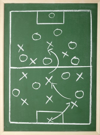 tactical: close up of a soccer tactics drawing on chalkboard