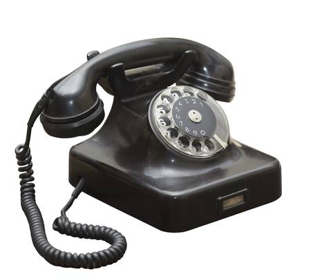 rotary dial telephone: close up of  an old antique black phone  Stock Photo