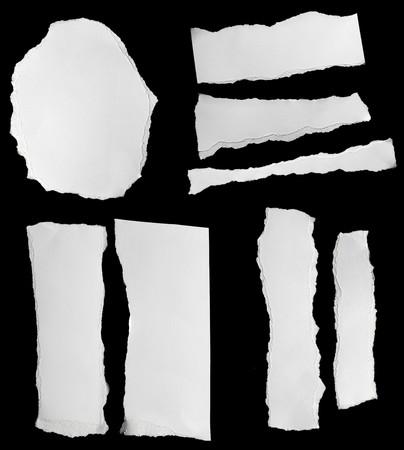 papeles oficina: colecci�n de blanco arranc� trozos de papel negro