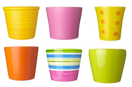collection of   flowerpots  on white background. each one is shot separately photo
