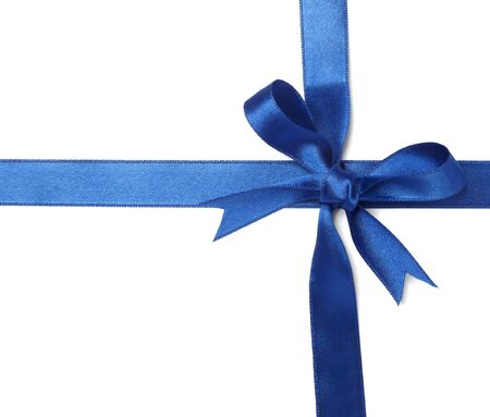 annotation: close up of  card note with blue ribbon Stock Photo