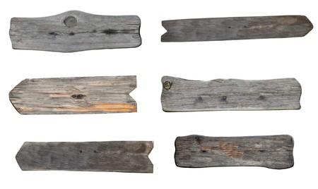 arrow wood: colecci�n de varios signos de madera vac�as sobre fondo blanco. cada uno recibe un disparo por separado  Foto de archivo