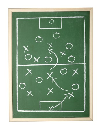 school strategy: close up of a soccer tactics drawing on chalkboard