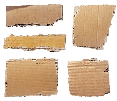 collection of  a cardboard pieces  on white background. each one is shot separately  photo