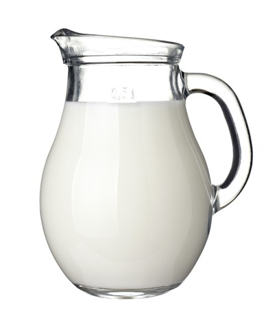 jugs: close up of  milk on white background  with clipping path