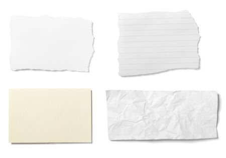 rumple: collection of  various ripped pieces of paper on white background. each one is shot separately