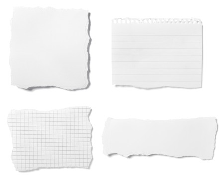 gescheurd papier: collectie van witte geripte stukjes papier op witte achtergrond. elk wordt afzonderlijk neergeschoten  Stockfoto