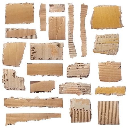 ridged: collection of  a cardboard pieces  on white background. each one is shot separately